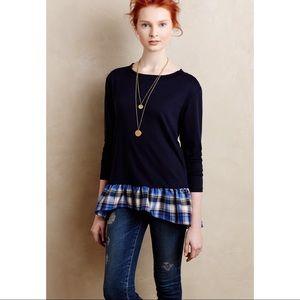 Anthropologie Everleigh Plaid Ruffle Sweatshirt